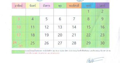 แผนการระบายน้ำเขื่อนขุนด่านปราการชล ประจำเดือน มีนาคม 2562